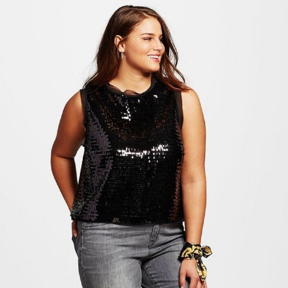 d8764913ff6f3 Who What Wear Black Sequin Sleeveless Blouse Top